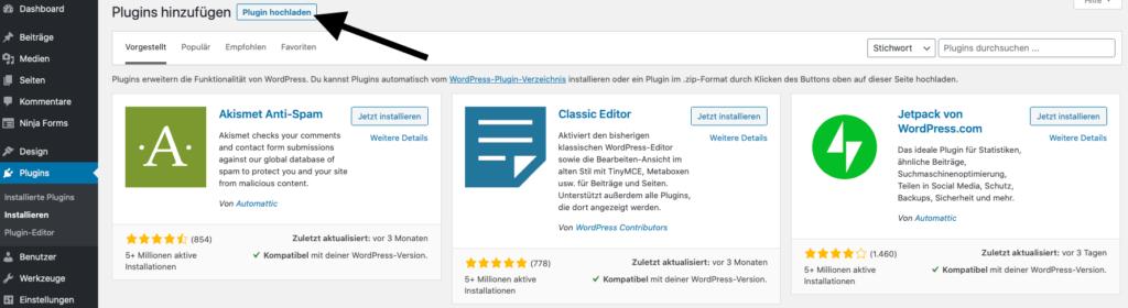 Bei WordPress Plugin hochladen klicken