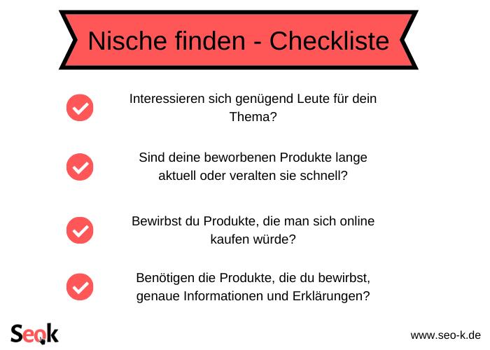 Nische finden - Checkliste