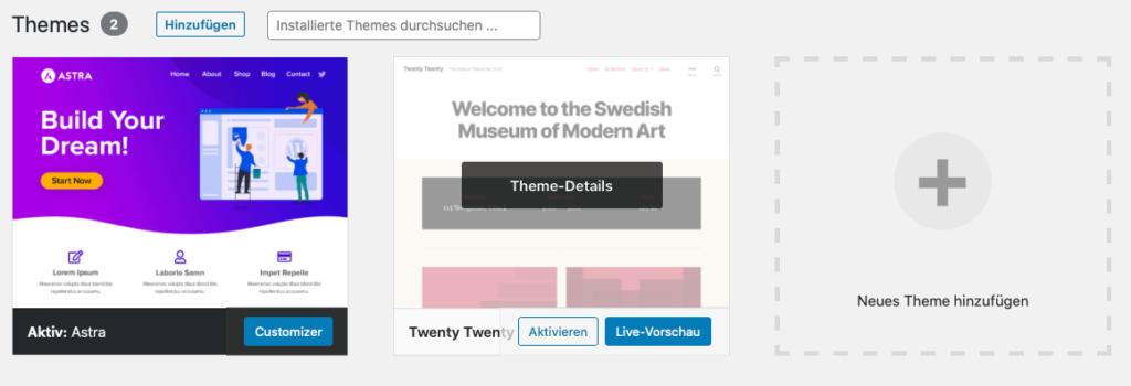 Wordpress Theme löschen