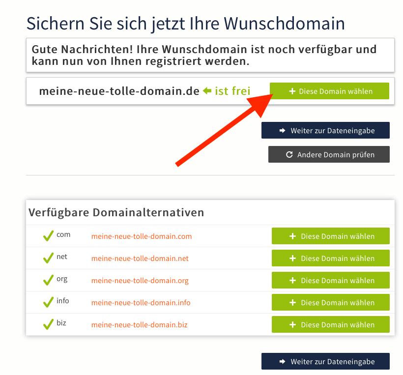 Webgo Domain auswählen
