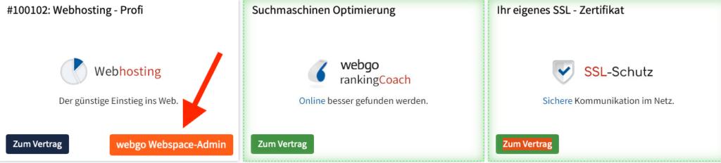 Webgo Hauptmenü
